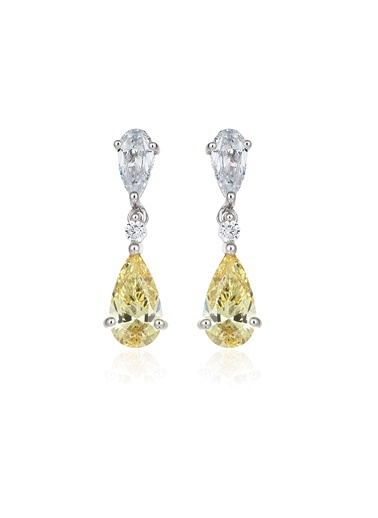 4,2Ct Sarı Pırlanta Efekt Alicia Damla Altın Küpe-Tophills Diamond Co.